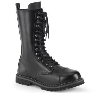 Ægte læder RIOT-14 støvler med stål tå-kappe - demonia militærstøvler