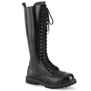 Ægte læder RIOT-20 støvler med stål tå-kappe - demonia militærstøvler