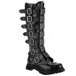 Ægte læder RIOT-21MP støvler med stål tå-kappe - demonia militærstøvler