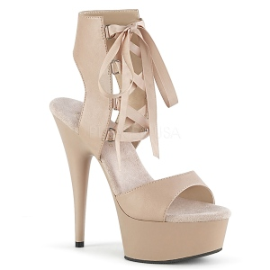 Beige Leatherette 15 cm DELIGHT-600-14 platform pleaser sandals