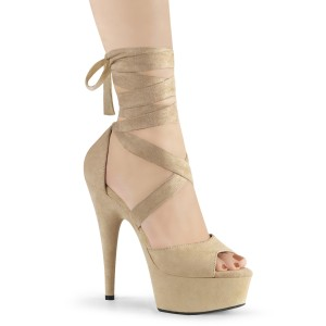 Beige Leatherette 15 cm DELIGHT-679 high heels with ankle laces