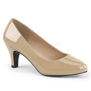 Beige Varnished 8 cm DIVINE-420W Women Pumps Shoes Flat Heels