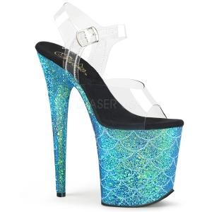Blå 20 cm FLAMINGO-808MSLG glitter plateau sandaler sko