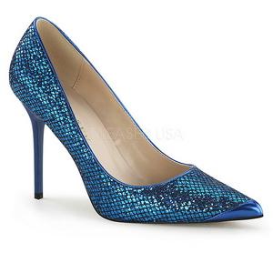 Blå Glimmer 10 cm CLASSIQUE-20 Dame Pumps Stilethæle Sko