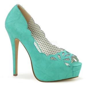 Blå Kunstlæder 13,5 cm BELLA-30 dame pumps sko med åben tå