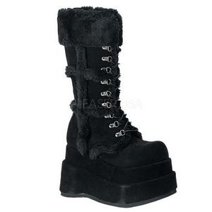 Black 11,5 cm BEAR-202 lolita knee boots goth platform boots
