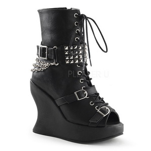 Black 13 cm BRAVO-89 Platform Wedge Ankle Boots