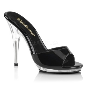 Black 13 cm Fabulicious POISE-501 womens mules shoes