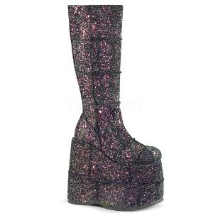 Black Glitter 18 cm STACK-301G demonia boots - unisex cyberpunk boots