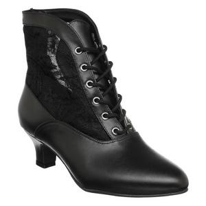 Black Lace Fabric 5 cm DAME-05 Lace Up Ankle Calf Women Boots