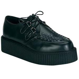 Black Leather 5 cm CREEPER-402 Platform Mens Creepers Shoes
