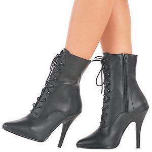 Black Leatherette 13 cm SEDUCE-1020 Flat Ankle Calf Boots Women