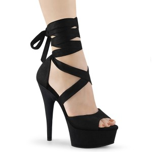 Black Leatherette 15 cm DELIGHT-679 high heels with ankle laces