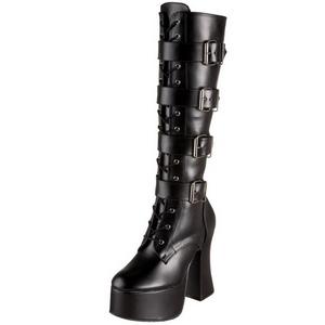 Black Matte 12 cm SLUSH-225 Platform Knee High Goth Boots