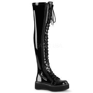 Black Patent 5 cm EMILY-375 overknee boots with laces
