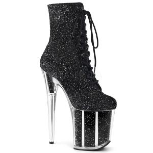 Black glitter 20 cm FLAMINGO-1020G Pole dancing ankle boots
