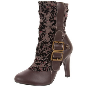 Brown 10,5 cm TESLA-106 Womens Ankle High Steampunk Boots