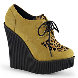 Brown Leatherette CREEPER-304 creepers wedges women shoes