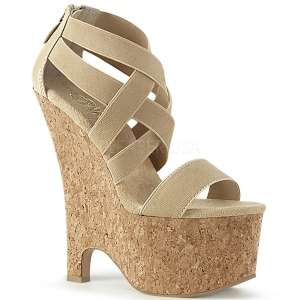 Brown band 16,5 cm BEAU-669 wedges sandals cork platform