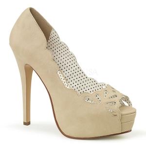Creme Kunstlæder 13,5 cm BELLA-30 dame pumps sko med åben tå