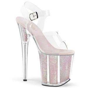 Gennemsigtig 20 cm FLAMINGO-808G glitter plateau high heels sko