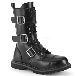 Genuine leather RIOT-12BK demonia boots - unisex steel toe combat boots