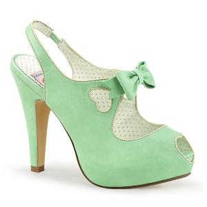 Grøn 11,5 cm retro vintage BETTIE-03 Pinup pumps sko med skjult plateau