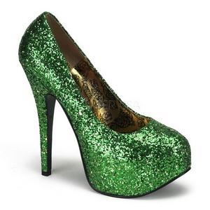 Grøn Glitter 14,5 cm Burlesque BORDELLO TEEZE-06G Høje Hæle Pumps Plateau