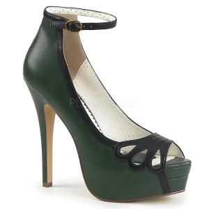 Grøn Kunstlæder 13,5 cm BELLA-31 dame pumps sko med åben tå