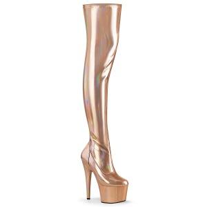 Guld 18 cm ADORE-3000HWR Hologram overknee støvler - pole dance overknees