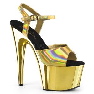 Guld 18 cm ADORE-709HGCH Hologram plateau high heels sko