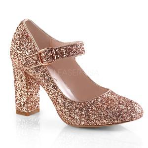 Guld 9 cm SABRINA-07 pumps sko med blokhæl
