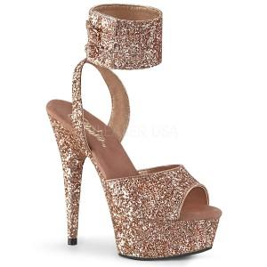 Guld Glimter 15 cm DELIGHT-691LG pleaser høje hæle med ankelremme
