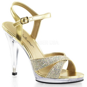 Guld Glitter 12 cm FLAIR-419G Høje Damesandaler flade Hæl