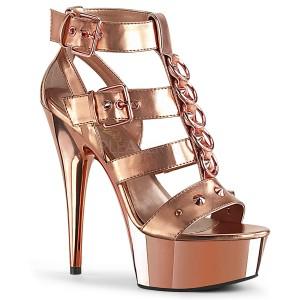 Guld Kunstlæder 15 cm DELIGHT-658 pleaser sko med høje hæle