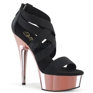 Guld krom plateau 15 cm DELIGHT-669 pleaser sko med høj hæl