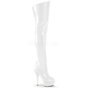 Hvid 15 cm KISS-3010 lårlange støvler med plateausål