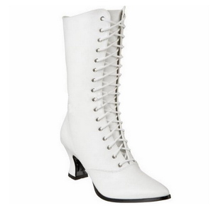 Hvid 7 cm VICTORIAN-120 Dame Ankel Støvler med Snørebånd
