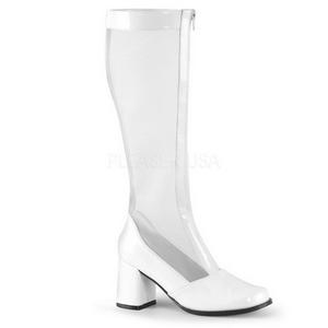 Hvid 8,5 cm GOGO-307 grid støvler til damer med høj hæl