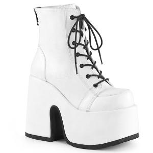 Hvid Kunstlæder 13 cm DEMONIA CAMEL-203 gothic ankelstøvler