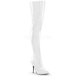 Hvid Lak 13 cm SEDUCE-3010 overknee støvler med hæl