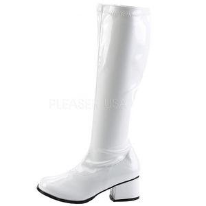 Hvid Lak 5 cm RETRO-300 Dame Støvler med Høje Hæle