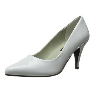 Hvid Lakeret 7,5 cm PUMP-420 klassisk pumps sko til damer
