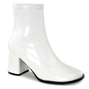 Hvid Laklæder 7,5 cm GOGO-150 stretch ankelstøvler med blokhæl til kvinder