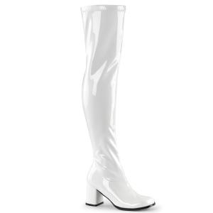 Hvide vinyl lårlange støvler 7,5 cm - 70 erne hippie disco gogo lårlange boots