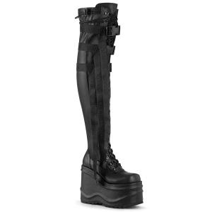 Kunstlæder 15 cm WAVE-315-2 Overknee støvler med kilehæle plateau
