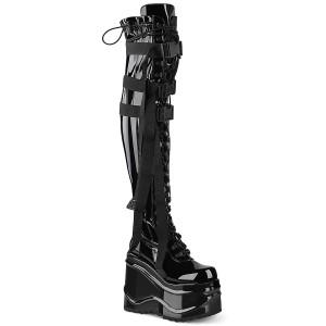 Kunstlæder 15 cm WAVE-315 Overknee støvler med kilehæle plateau