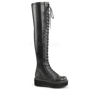 Kunstlæder 5 cm EMILY-375 lårlange støvler med plateausål