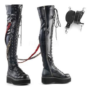 Kunstlæder 5 cm EMILY-377 lårlange støvler med plateausål