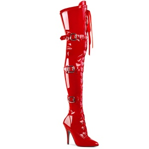 Laklæder 13 cm SEDUCE-3028 Røde lårlange støvler med snørebånd